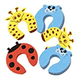 5 Pcs Baby Proofing Safety Spongy Foam Door Jammer & Cupboard Stopper Toy/Multicolor Cartoon Animal Finger Pinch Hinge Guard & Lock Protector for Infant Kids/Soft Cushion Child Window Holder Accessories