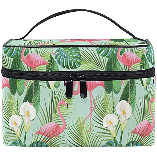 Tropical Flamingo Makeup Bag Palm Cosmetic Bag Toiletry Brush Train Zip Carrying Portable Storage Pouch Bags Box Box