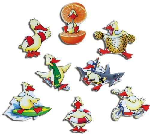 Kühlschrankmagnete Tiere Magnete für Magnettafel Kinder stark 8er Set Enten lustig mit Motiv Comic Ente