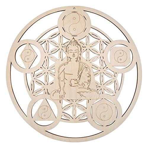 Buddha Art Room Decor - Wooden Crystal Grid - Spiritual Artwork For Walls - Unfinished Wood Wall Hanging - Sacred Geometry Wall Art - Meditation Buddha Accent Decor - Yoga Decorations For Home