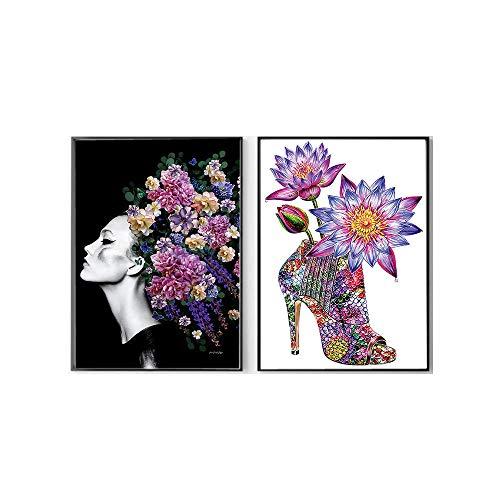 TalóN De De La Lona Salon De Decoracion Marco De La Colorido Alta Chica Zapatos Pintura Moda Mujer Retrato Fresco Flor Estampados para Salon Cuadros 40x60cmx2 No Cartel