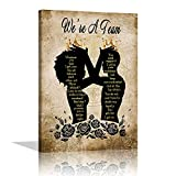 African American Wall Art Decor Black Couple Wall Art Canvas Inspirational Quotes Poster Print Motivational Quotes Black King and Queen Picture for Bedroom Living Room Office Framed Ready to Hang