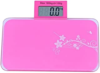 UYZ Báscula electrónica Profesional Báscula de baño Báscula de Peso 180 kg Grado Sanitario Acero Inoxidable LCD Digital Báscula electrónica Fina Duradera (Color: Rosa)