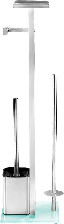WENKO 23364100 Freestanding Toilet Brush with Rack Debar 8.3 x 27.8 x 7.1 inch Satinised