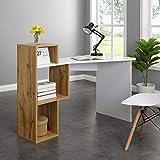 <span class='highlight'>Cherry</span> <span class='highlight'>Tree</span> <span class='highlight'>Furniture</span> Mason White High Gloss Desk with Oak Effect Shelves