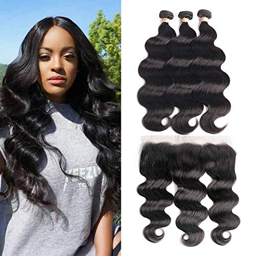 3 Bundles with Frontal Body Wave 18 20 22+18 Frontal Brazilian Virgin Real Human Hair Extensions with Closure 13x4 Lace Frontal Natural Color LUXEDIVA Hair Wavy Weft