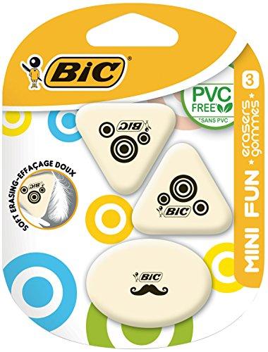 Bic gommes mini fun en caoutchouc synthétique designs blister 2 a lot de 3-blanc