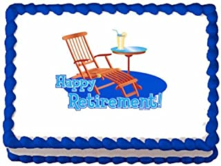 1/4 Sheet ~ Happy Retirement Beach Chair ~ Edible Cake/Cupcake Topper - D988