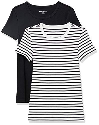 Amazon Essentials 2-Pack Slim-fit Short-Sleeve Crewneck T-Shirt Fashion-t-Shirts, Blanco/Negro Rayas/Negro, US S (EU S - M)