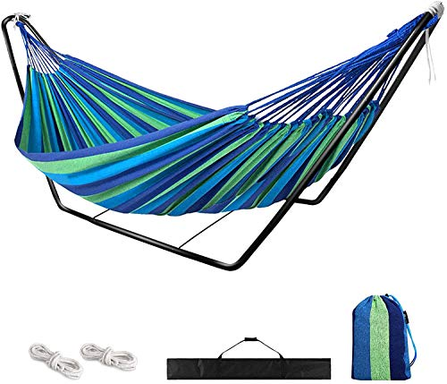 Hammock with Stand,Garden Outdoor Camping Hammock with Frame,Kid Indoor Double Swing Hammock with Metal Stand for Travel Patio,Child Adult Large Portable Rainbow Cotton Hammock with Carry Bag(blue)