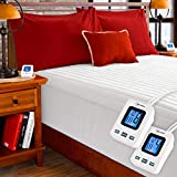 SimplyWarm Electric Heated Channel Quilted Mattress Pad with Sensor-Safe Overheat Technology – New for 2018 HIGH TEC Digital Controller (Queen w/Dual Controllers)