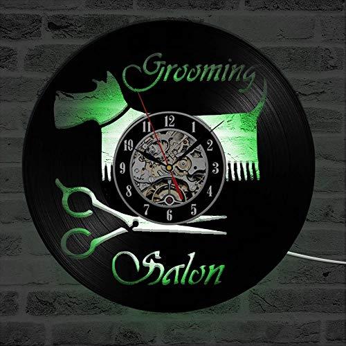 LKJHGU Peluquería para Perros Reloj de Pared Diseño Moderno Reloj de CD clásico Iluminación LED Reloj de Pared con Disco de Vinilo Elementos de Estilo Moderno Antiguo