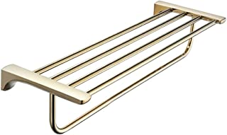 HTTSC Towel rack Bathroom Pale Gold Towel Rail, Wall-Mounted Towel Rack Storage, Brass, 60 cm
