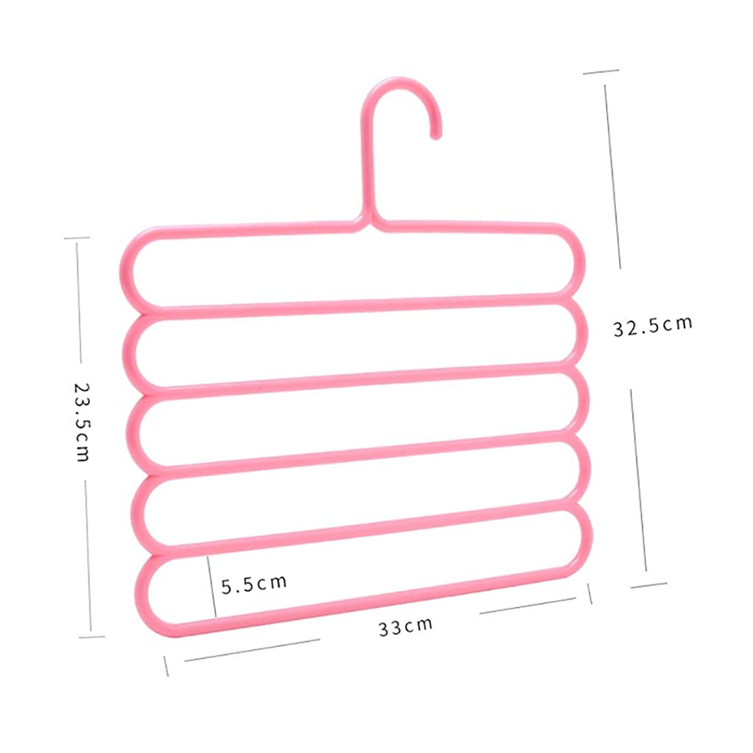 リビングルーム優雅なバンカーパンツハンガー、省スペースSタイプ5層多目的プラスチックスカーフハンガー(1パンツハンガー) (Color : B)