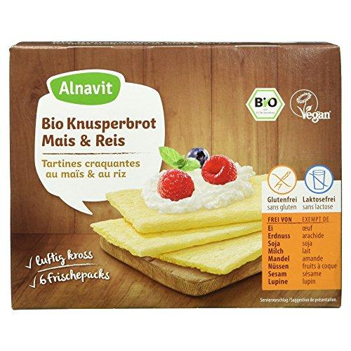Alnavit Bio Knusperbrot Mais Reis, glutenfrei, laktosefrei, vegan, 8er Pack (8 x 150 g)