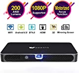 Mini Projector WOWOTO A8 Pro 200 ANSI Lumen Android 6.0 Support Full HD 1080P Smart Wi-Fi Projector 4200mAh battery 150'Image DLP Video Projector with BT4.0/HDMI/USB/Outdoor Projector for Home Theater
