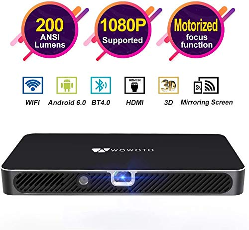 """Mini Projector WOWOTO 200 ANSI Lumen Android 6.0 Support Full HD 1080P Smart Wi-Fi Projector 4200mAh Battery 150"""" Image DLP Video Projector with BT4.0/HDMI/USB/Outdoor Projector for Home Theater"""