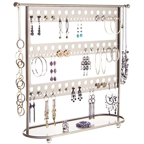 Angelynn's Jewelry Organizer Stand Hanging Large Earring Holder for Big Long Earrings Hoops, Necklace Rack, Laela Satin Nickel Silver