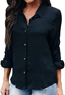OMSJ Women Button Down Shirts Long Sleeve Chiffon Office V Neck Casual Business Blouses Tops