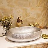 Hiwenr Ovale Form im europäischen Stil chinesisches Waschbecken Waschbecken Art Counter Top Keramik Waschbecken bemalt Porzellan Waschbecken Silber