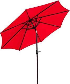 Bonnlo 9 ft Heavier Pole Thicker Fabric with Easy Push Button Tilt Outdoor Patio Umbrella Aluminum Backyard Market Table Tilt and Crank Umbrella (Red)