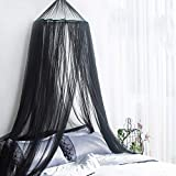 Mosquito Net, Round Hoop Bed Canopy Hanging Curtain Netting Quick Easy Installation for Single to King Size Beds Hammocks Cribs (Black)