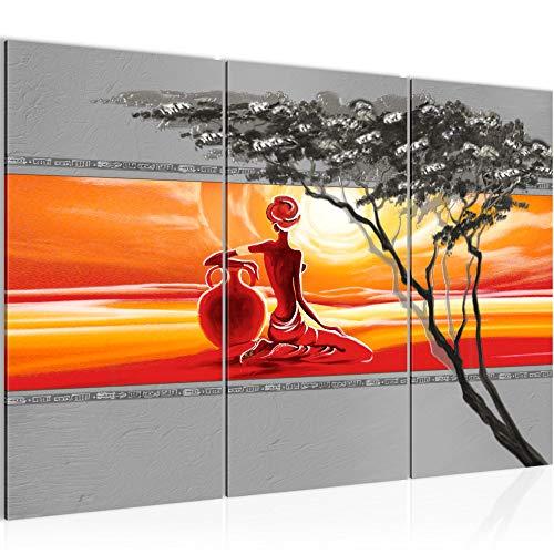 Bilder Afrika Frau Wandbild 120 x 80 cm - 3 Teilig Vlies - Leinwand Bild XXL Format Wandbilder Wohnzimmer Wohnung Deko Kunstdrucke Orang - MADE IN GERMANY - Fertig zum Aufhängen 000931a