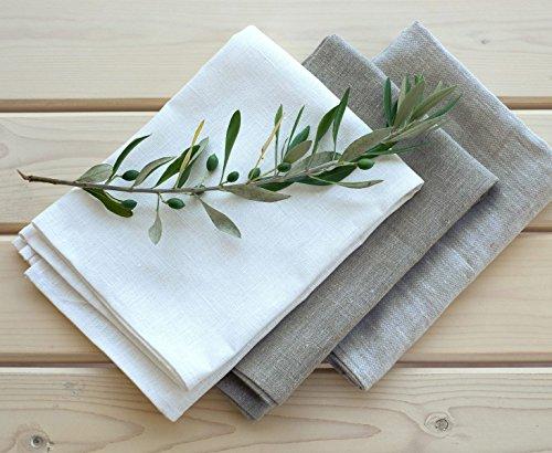 Set 3 Strofinacci 50x70 cm 100% lino bianco+naturale+naturale chiaro