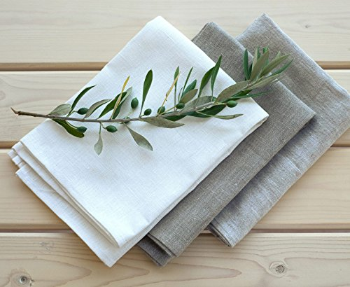 Varvara Home 1334/3 Toallas de cocina Lesna 50x70 cm, 100% lino (Natural + Blanco + Beige Gris)