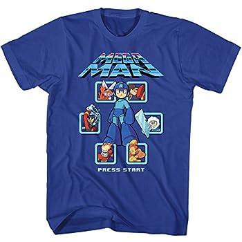 Mega Man Mm1 Select Screen Remix Screen Press Start Video Game Adult T-Shirt Blue