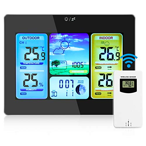 Allnice Weather Stations Wireless Indoor Outdoor with Alert and Temperature/Humidity/Barometric/Forecast/Moon Phase/Alarm Clock, LCD Digital Weather Station with Outdoor Sensor (Black)