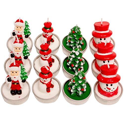 Toyvian 12pcs Christmas Candles Santa Xmas Tree Unscented Tea Lights Home Holiday Party Celebration Decoration