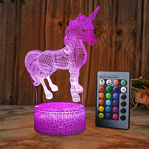 SZLTZK Unicorn Gifts for Girls, Dimmable 3D Nightlight Bedside Lamp with Remote Control & Smart Touch 16 Colors Changing, Best Unicorn Toys Birthday Gifts 5 6 7 8 9 11 12 Year Old Girls Kids Gifts