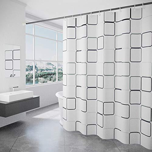 Xiongfeng Duschvorhang Textil Bad Vorhang aus Polyester Blickdicht Wasserdicht Waschbar Stoff Badezimmer Vorhang mit 12 Duschvorhängeringen und Beschwertem Saum Weiß Groß Kariert Muster 180x200 cm