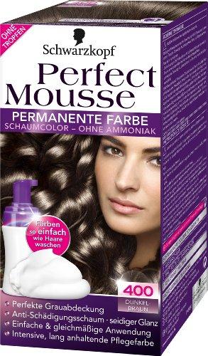 Schwarzkopf Perfect Mousse permanente Farbe Stufe 3, 400 Dunkelbraun