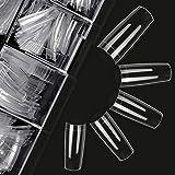 Clear Nail Tips Acrylic Nails - French Nail Tip Ejiubas 500PCS Fake Nails Half Cover False Nails 10 Sizes with Case for Nail Salon and DIY Nail Art