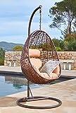 Kideo Fauteuil suspendu avec armature et coussin, intérieur et extérieur, polyrotin, fauteuil swing chair, salon (marron/beige)