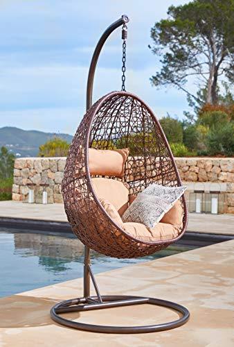 Kideo Poltrona sospesa con struttura e cuscino, per interni ed esterni, in polyrattan, Swing Chair, Lounge (marrone/beige)