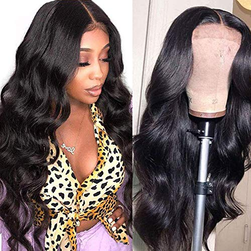 CanaryFly 4x4 Lace Front Wigs Brazilian body wave lace closure wigs human hair For Black Women 150% density Body Wave Wigs Pre Plucked with baby hair natural color (14inch)