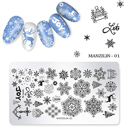 MANZILIN Christmastype Nail Art Print Plate Steel Square Template Practical