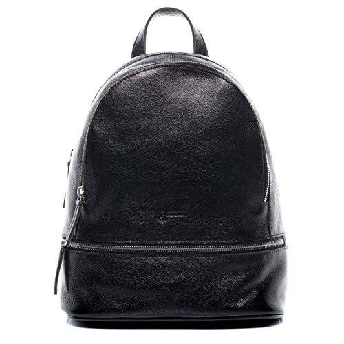 BACCINI® Zaino vera pelle DINA grande borsa a spalla borsa a zainetto backpack donna nero
