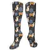 Socken Damen Corgi schwarzer Hintergrund Crazy Neuheit Funky Socken Lange Waden Socken mit...