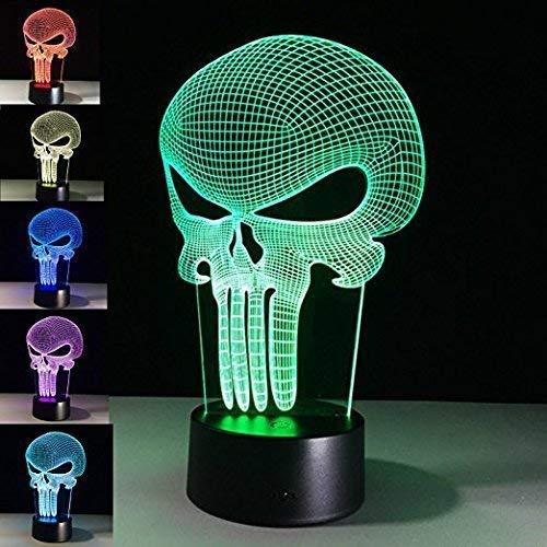 Threetoo 3D-Tischlampe, Totenkopf-Nachtlicht, 7 Farbwechsel, LED-Lampe