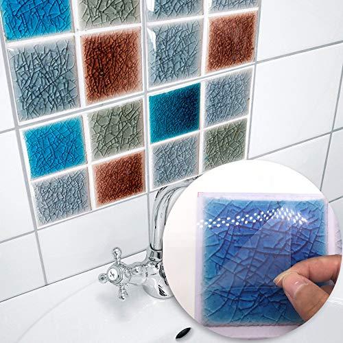 BCXGS 3D mozaïek tegelstickers, moderne creatieve stickertegels, PVC-tegelfolie met anti-schimmel en waterdicht, voor wooncultuur (3 sets)