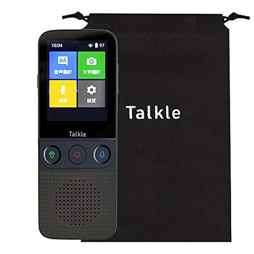 どこでも翻訳機 Talkle トークル 収納袋付き 翻訳機 写真翻訳 録音翻訳 双方向翻訳 Wi-Fi テザリング