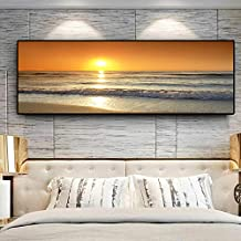 KFEKDT Sunsets Panorama Nature Ocean Beach Landscape Canvas Painting Posters and Prints Scandinavian Wall Art Picture for Living Room(Print No Frame) E 60x120CM