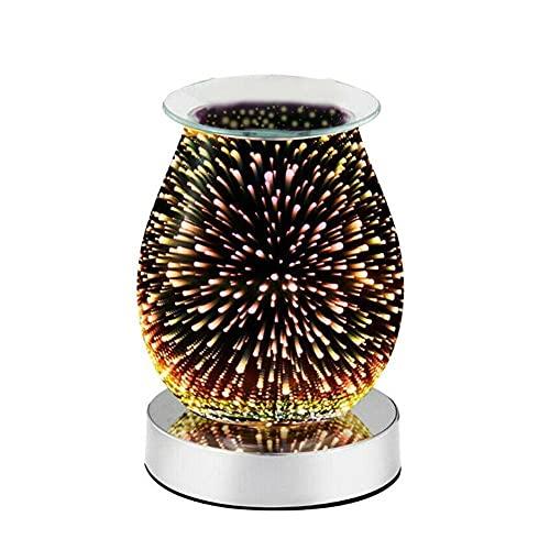 Difusor De Aceites Esenciales Lámpara De Incienso De Fusión De Cera De Aroma Eléctrico Con Fuegos Artificiales De Vidrio 3D, Difusor De Aromaterapia Con Fragancia Nocturna-Nos