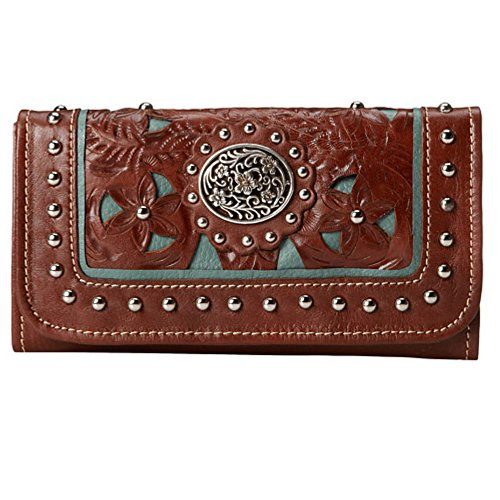 American West Leather Ladies' Tri-Fold French Walletwith Key Chain (Lady Lace Brown)