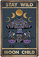RCY-T Moon Ethnic Pattern ブリキサイン Vintage Bar Club Family Bathroom Cafe Man Cave Wall Decoration 8x12 Inches Gift Retro