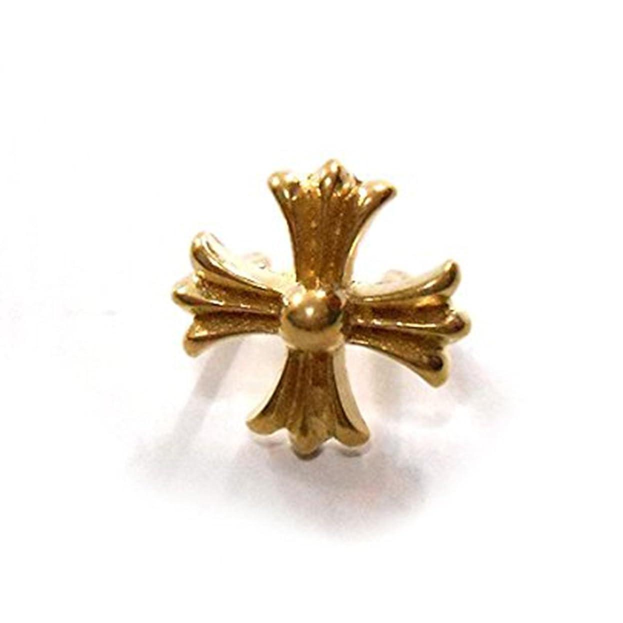 摘むワゴン方法論クロス 十字架 スタッズ 脚付き 直径1.0cm 10mm 金 ゴールド カスタム ハンドメイド DIY コンチョ